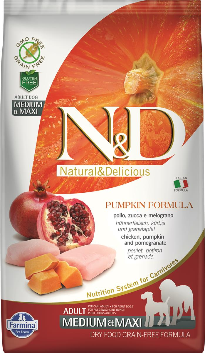 FARMINA N&D DOG PUMPKIN CHICKEN & POME ADULT MED/MAX 2,5 KG