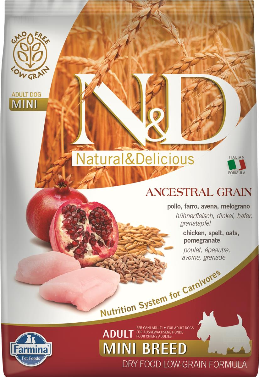 FARMINA N&D DOG LOW GRAIN CHICKEN & POMEGR ADULT MINI 7 KG
