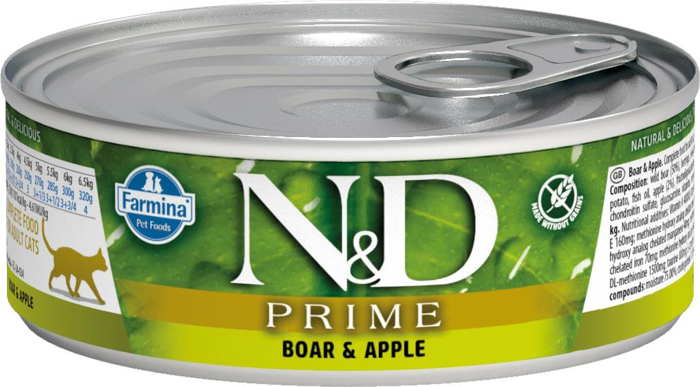 FARMINA N&D CAT PRIME  BOAR&APPLE 80G CAN