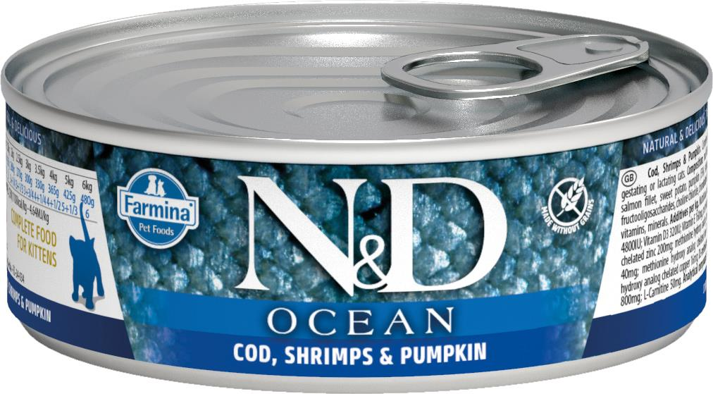 FARMINA N&D CAT OCEAN CODFISH&SHRIMP&PUMPKIN KITTEN 80G CAN