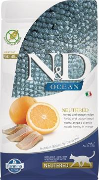 FARMINA N&D CAT OCEAN HERRING & ORANGE NEUTERED 1,5 KG