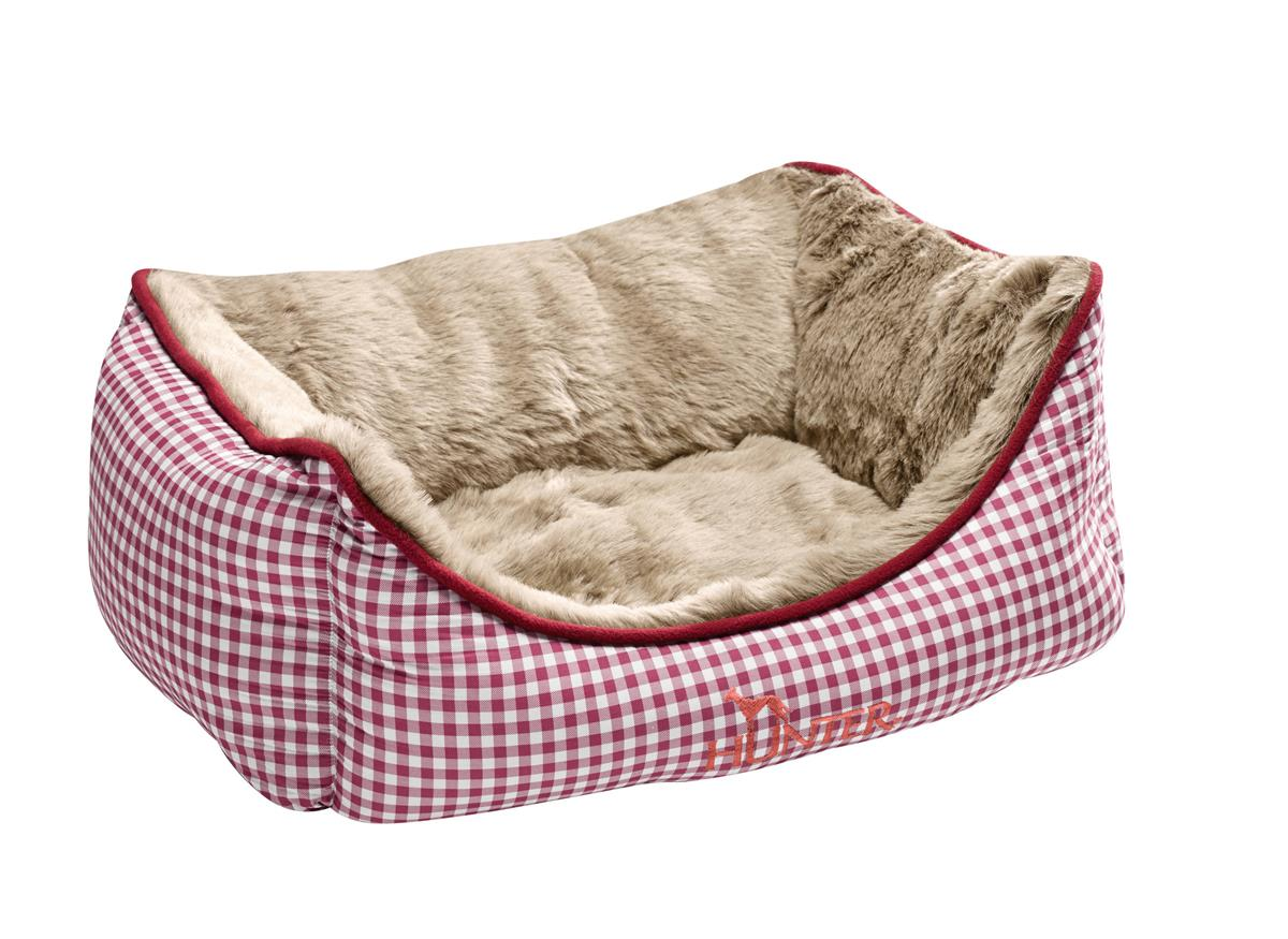 Dog Sofa Astana, 60 x 45 cm red checked, with plush