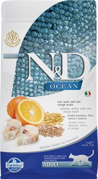 FARMINA N&D CAT OCEAN COD SPELT&OATS&ORANGE ADULT 1,5 KG