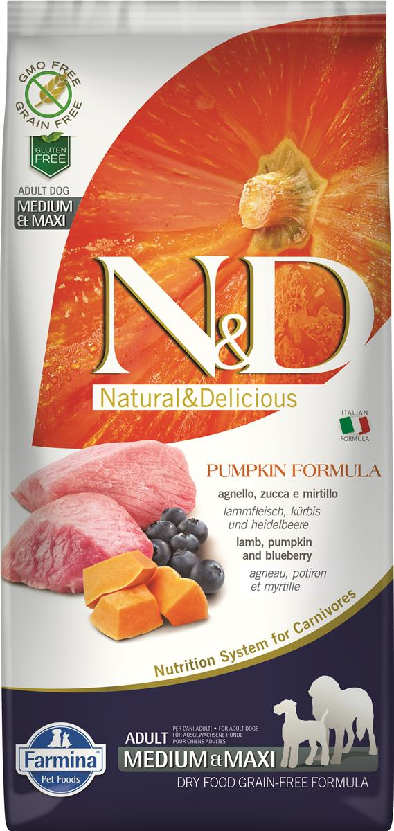 FARMINA N&D DOG PUMPKIN LAMB & BLUEBERRY ADULT MED/MAX 12 KG