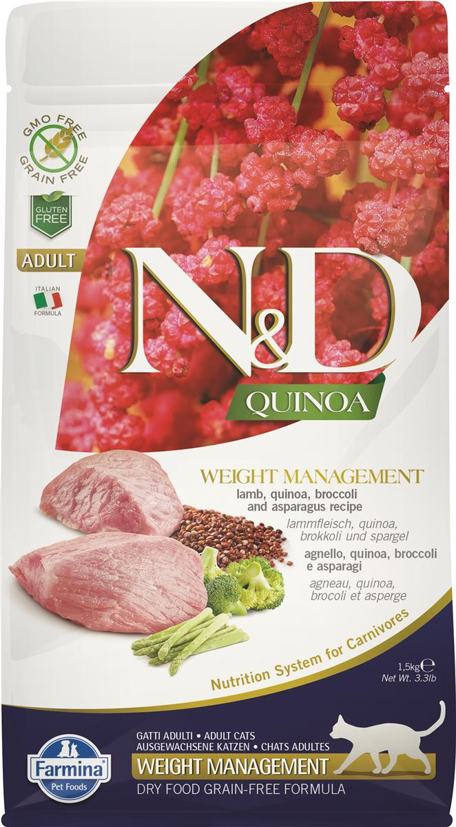 FARMINA N&D CAT QUINOA WEIGHT MANAGEMENT LAMB 1,5 KG