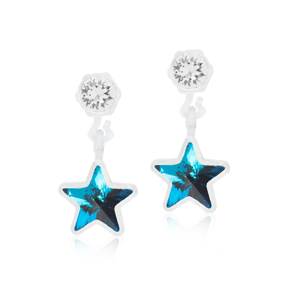 CJ MP PENDANT STAR CRYSTAL/AQUAMARINE 4/6MM