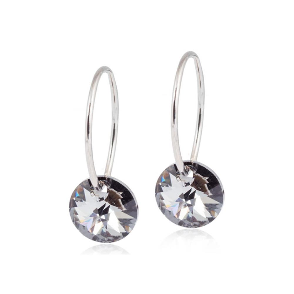 CJ NT EAR RING 14MM, ROUND BLACK DIAMOND8MM