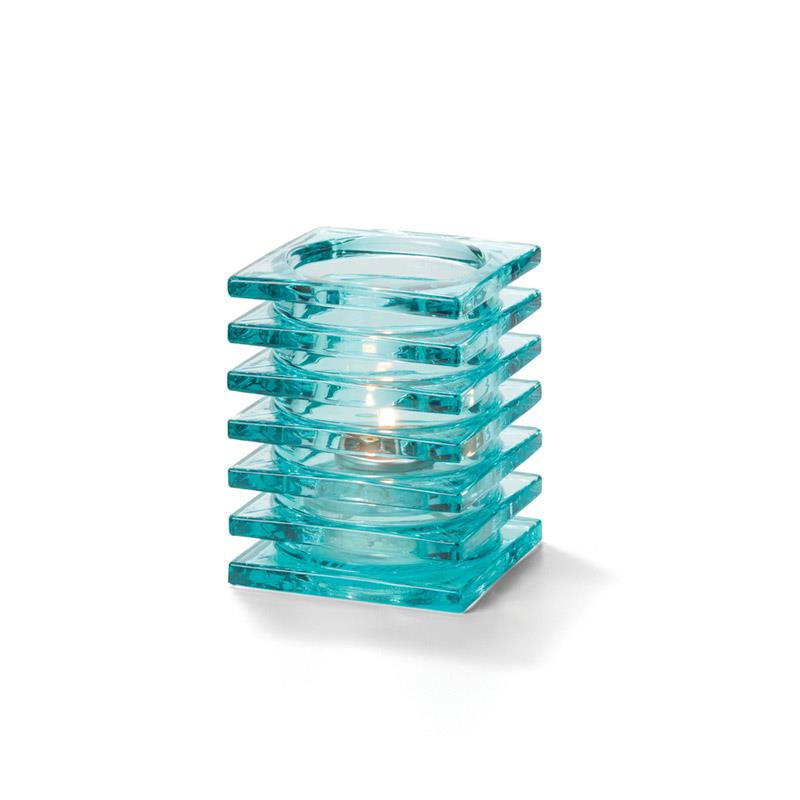 Stacked Square Block Lampeglass Aqua til HD26