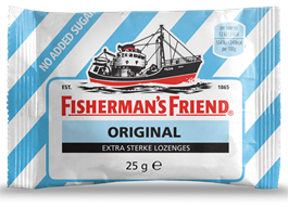 Fisherman Friend Blå u/Sukker 24x25gr.  Engrosp.