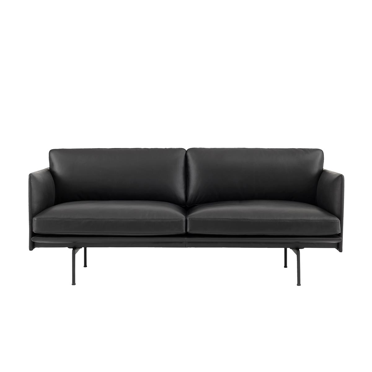 Outline Sofa 2 Seater - Silk Leather Black