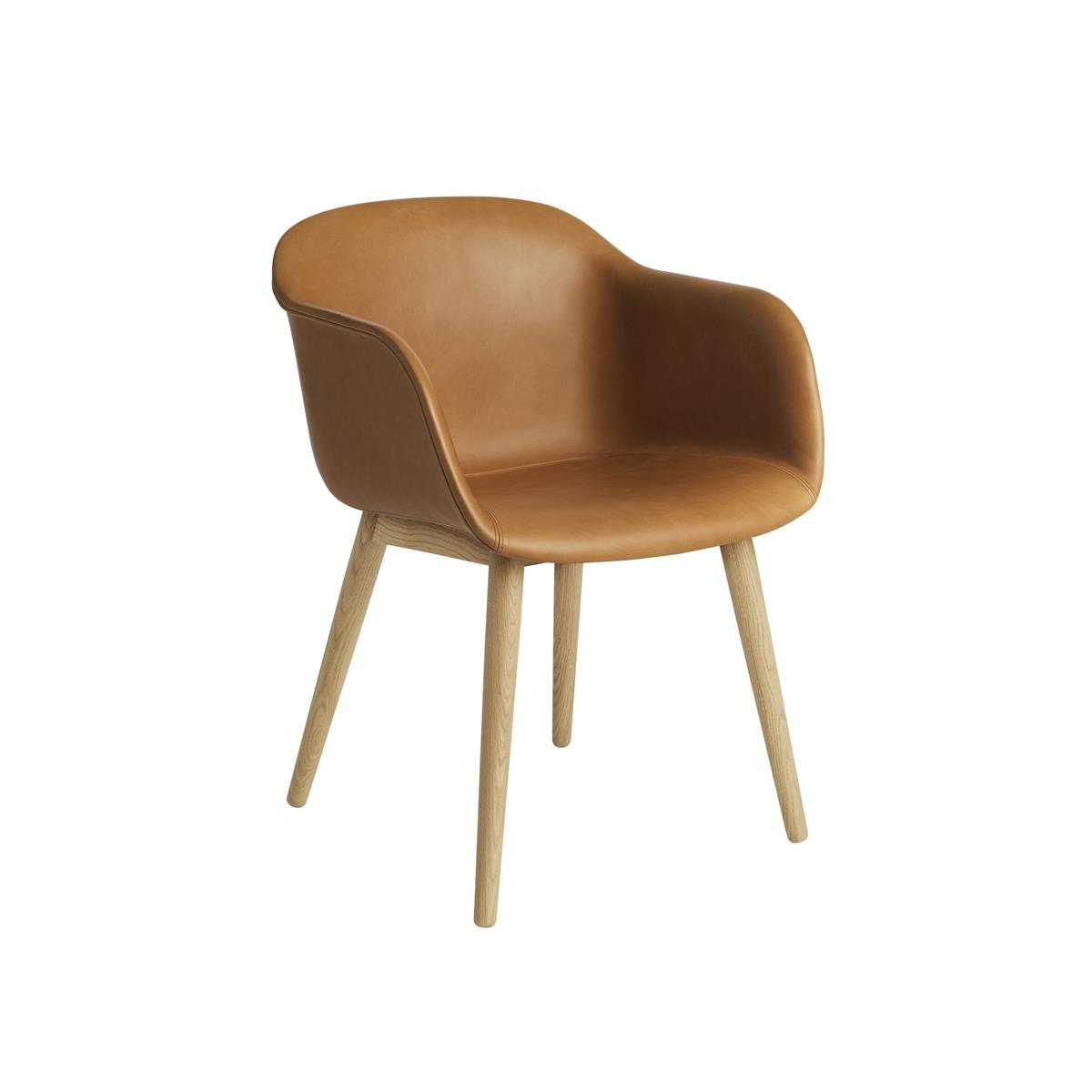 Fiber Armchair Wood base - Cognac & Oak