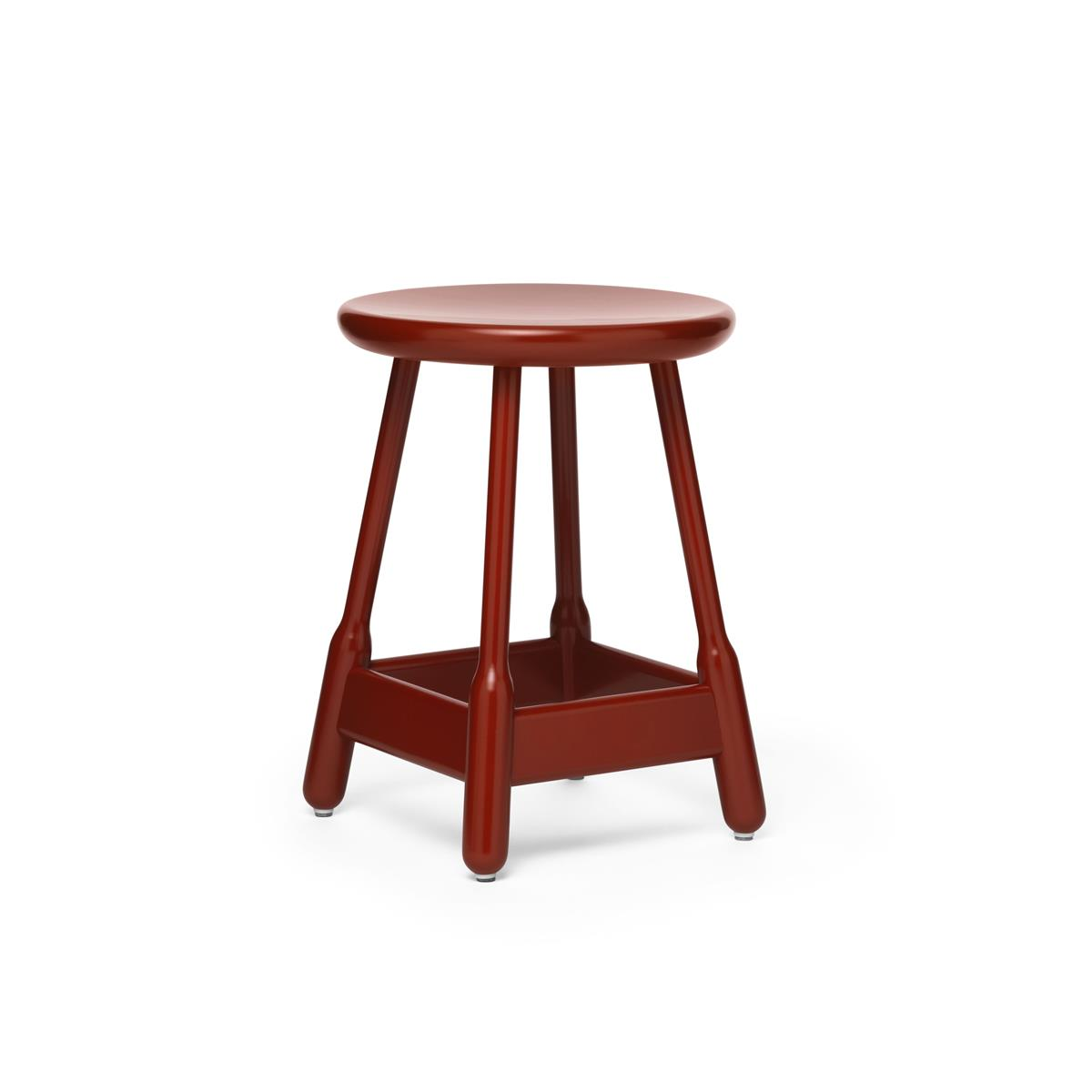 Albert Stool H50 cm - Red Lacquered