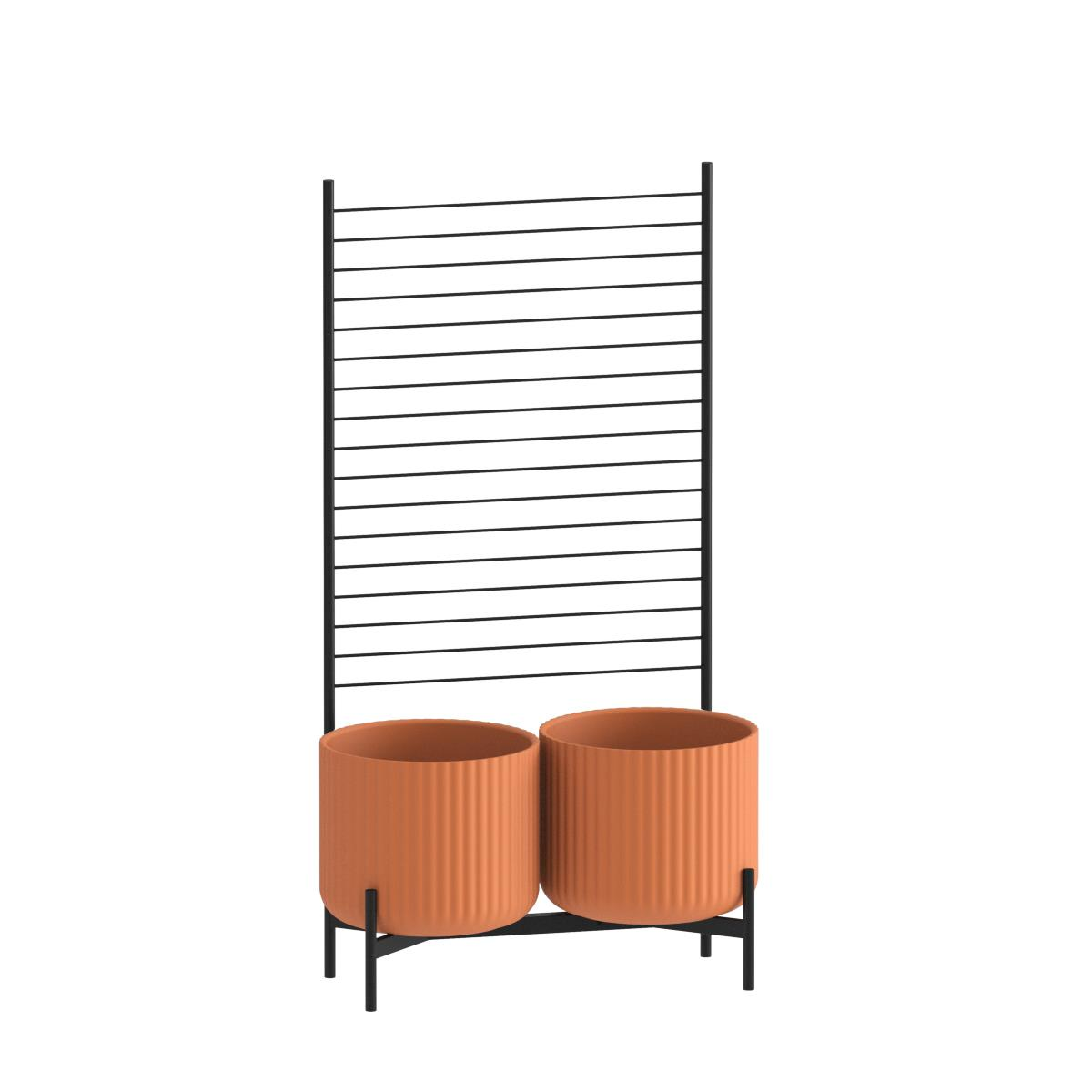 Klorofyll Double Medium Base & Medium Terracotta Concrete Planters with Espalier