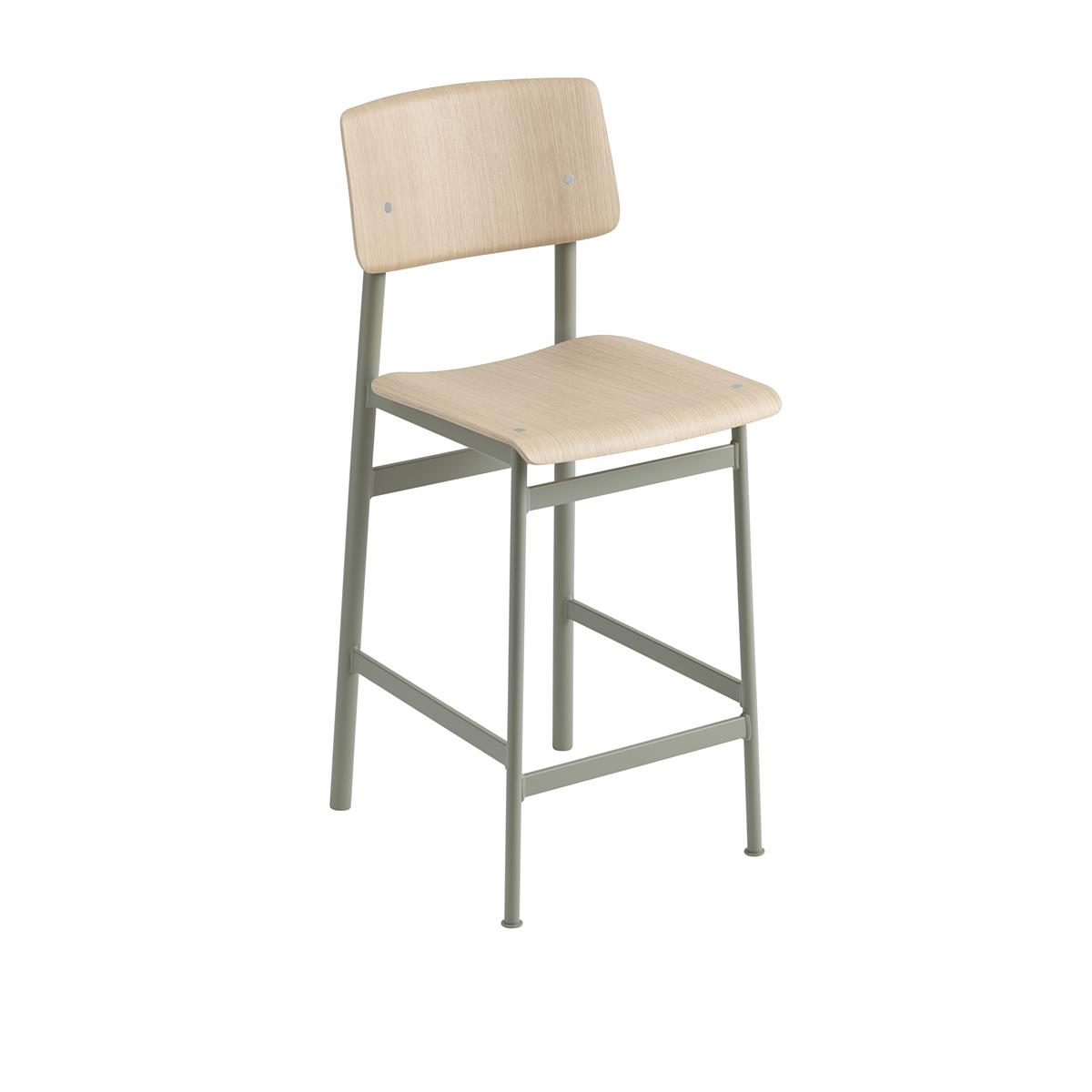 Loft Bar Stool H65 - Dusty Green & Oak