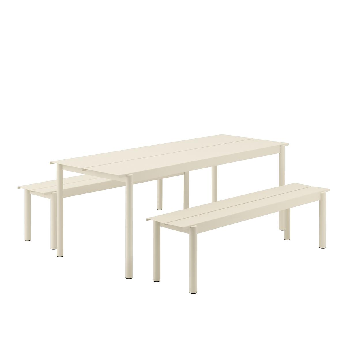 Linear Steel Table 200 x 75 med 2 Stk. Linear Steel Bench L:170. Off-White.