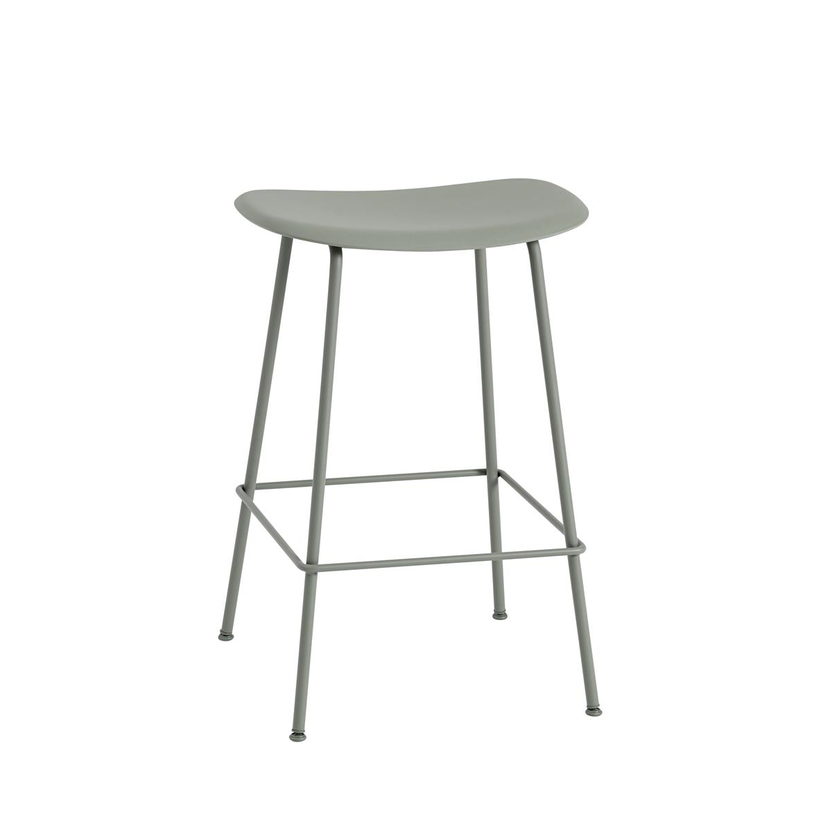 Fiber Bar Stool / Tube Base H65 - Dusty Green