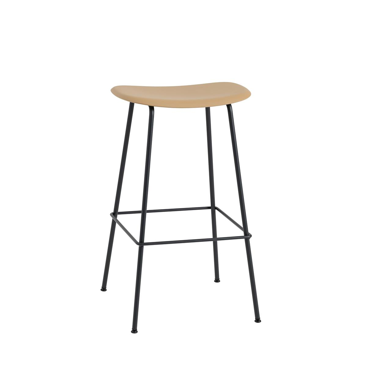Fiber Bar Stool / Tube Base H75 - Ochre  & Black