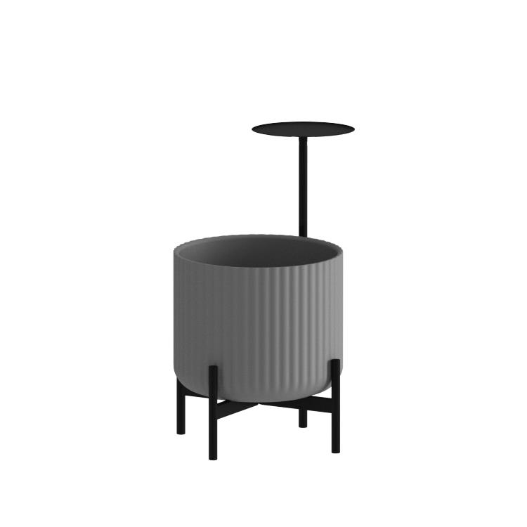 Klorofyll Low Base & Medium Concrete Planter with Round Table