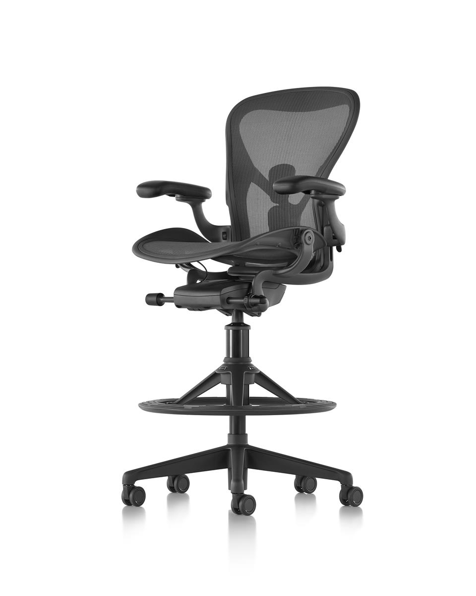 Aeron Stool Counter Height - Graphite & Fully Adjustable Arms & Dual SL PostureFit
