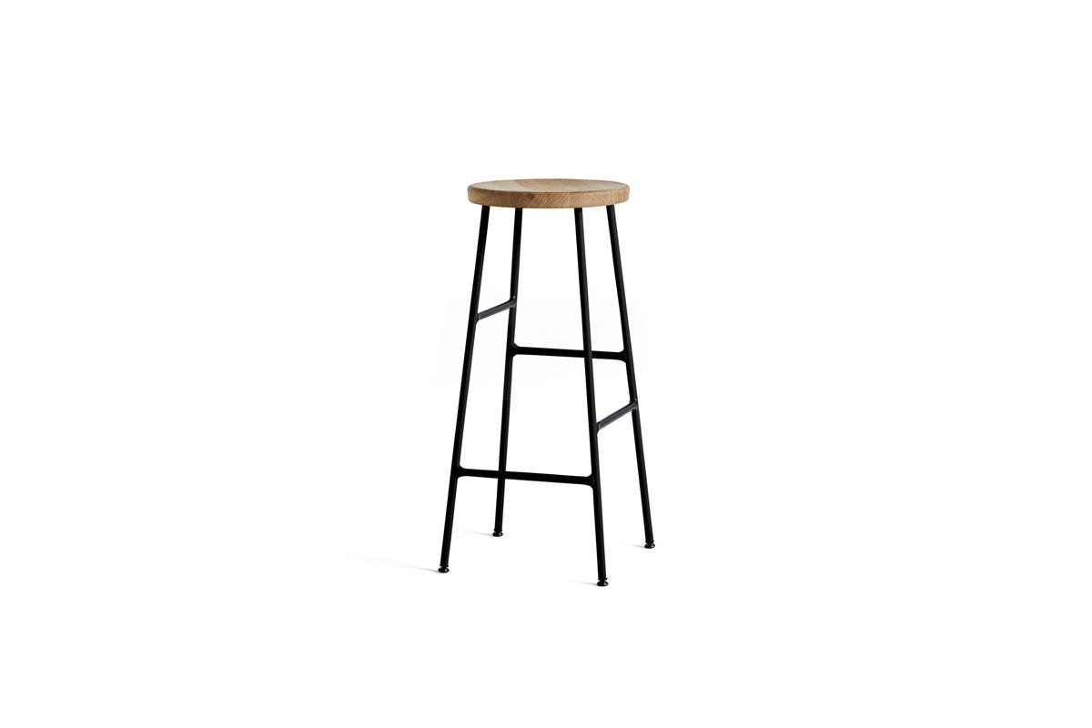 Cornet Bar Stool H75 - Oiled Oak & Black