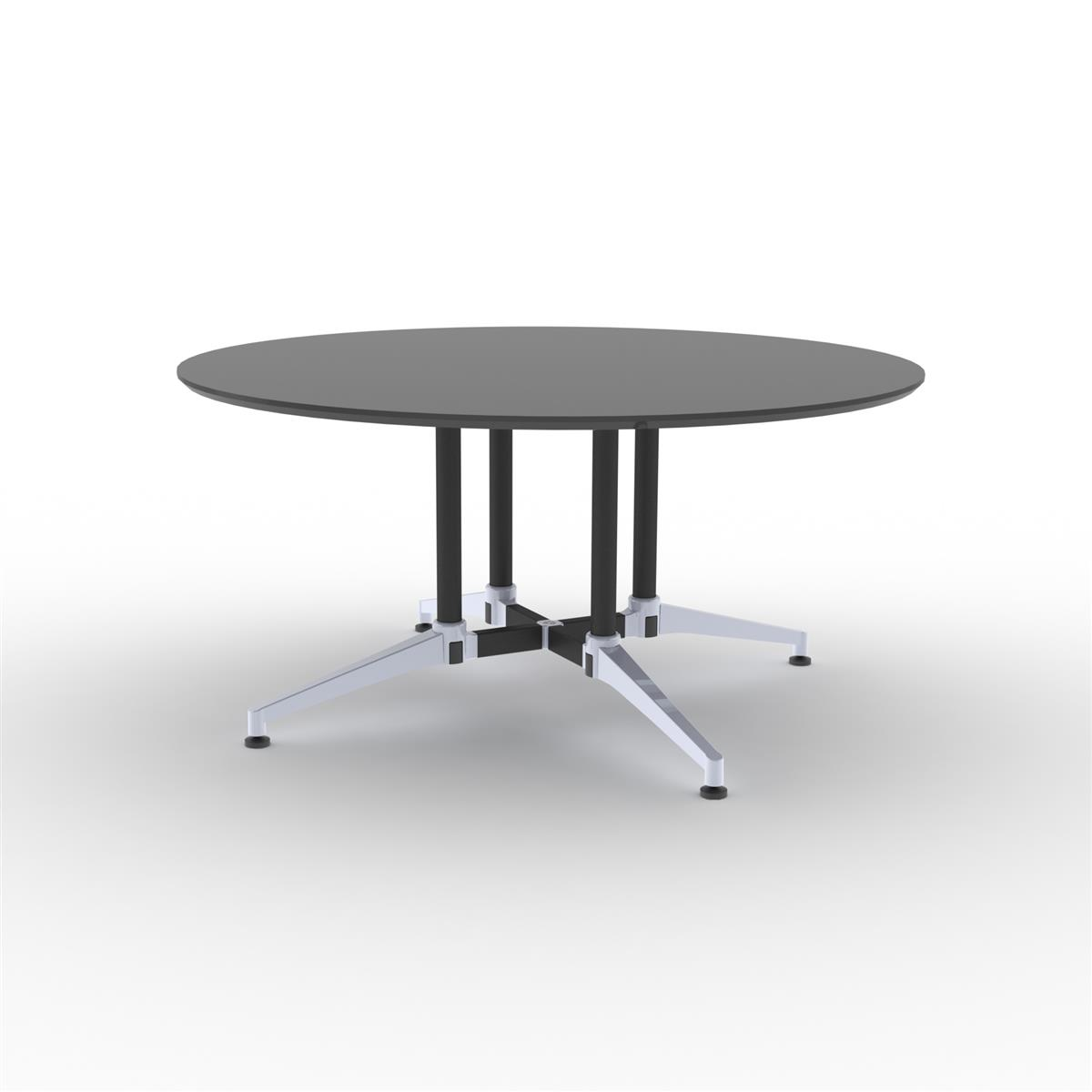 X1 Seamless Table Ø150 cm - sort linoleum og sort/alu understell