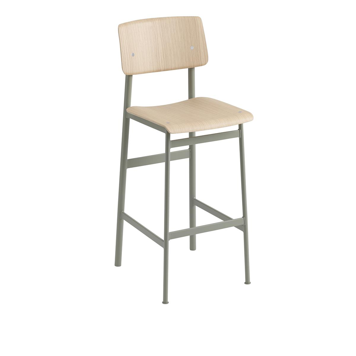 Loft Bar Stool H75 - Dusty Green & Oak