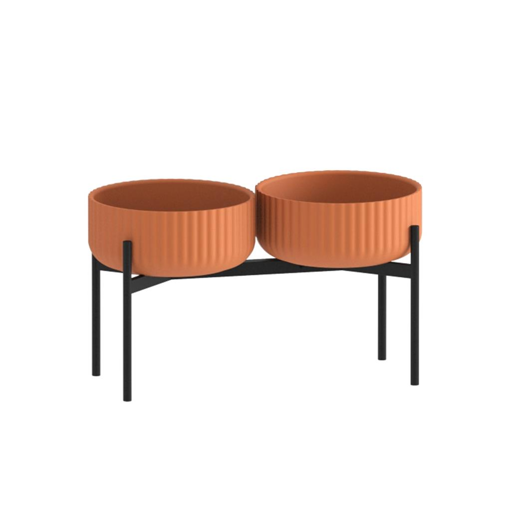 Klorofyll Double Medium Base & Low Terracotta Planters