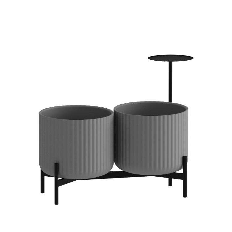 Klorofyll Double Low Base &  Medium Concrete Planters with Round Table