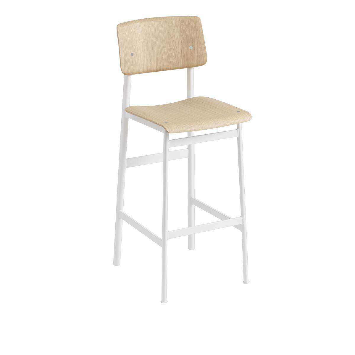 Loft Bar Stool H75 - White & Oak