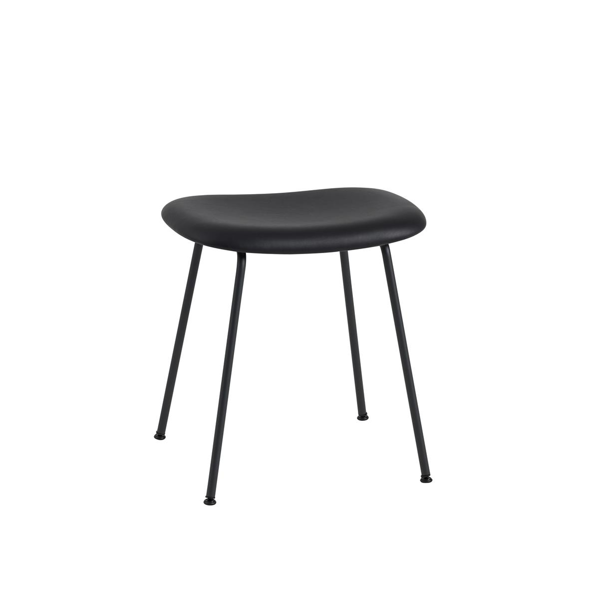 Fiber Stool Tube Base H45 - Black Silk Leather & Black