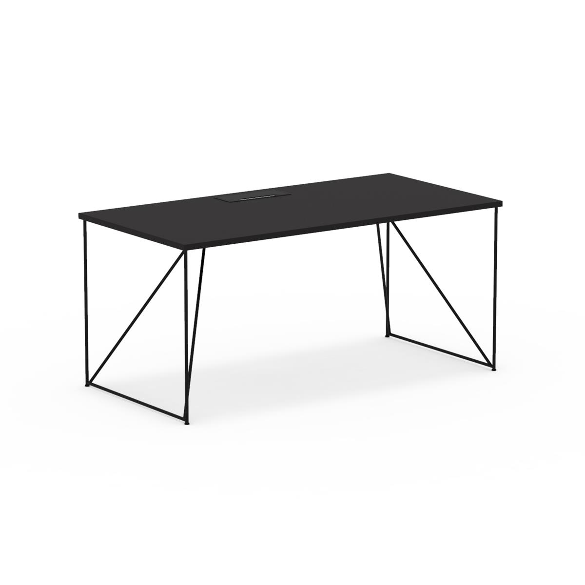 W1 Wired Table 160x80 - sort linoleum & kabelhåndtering