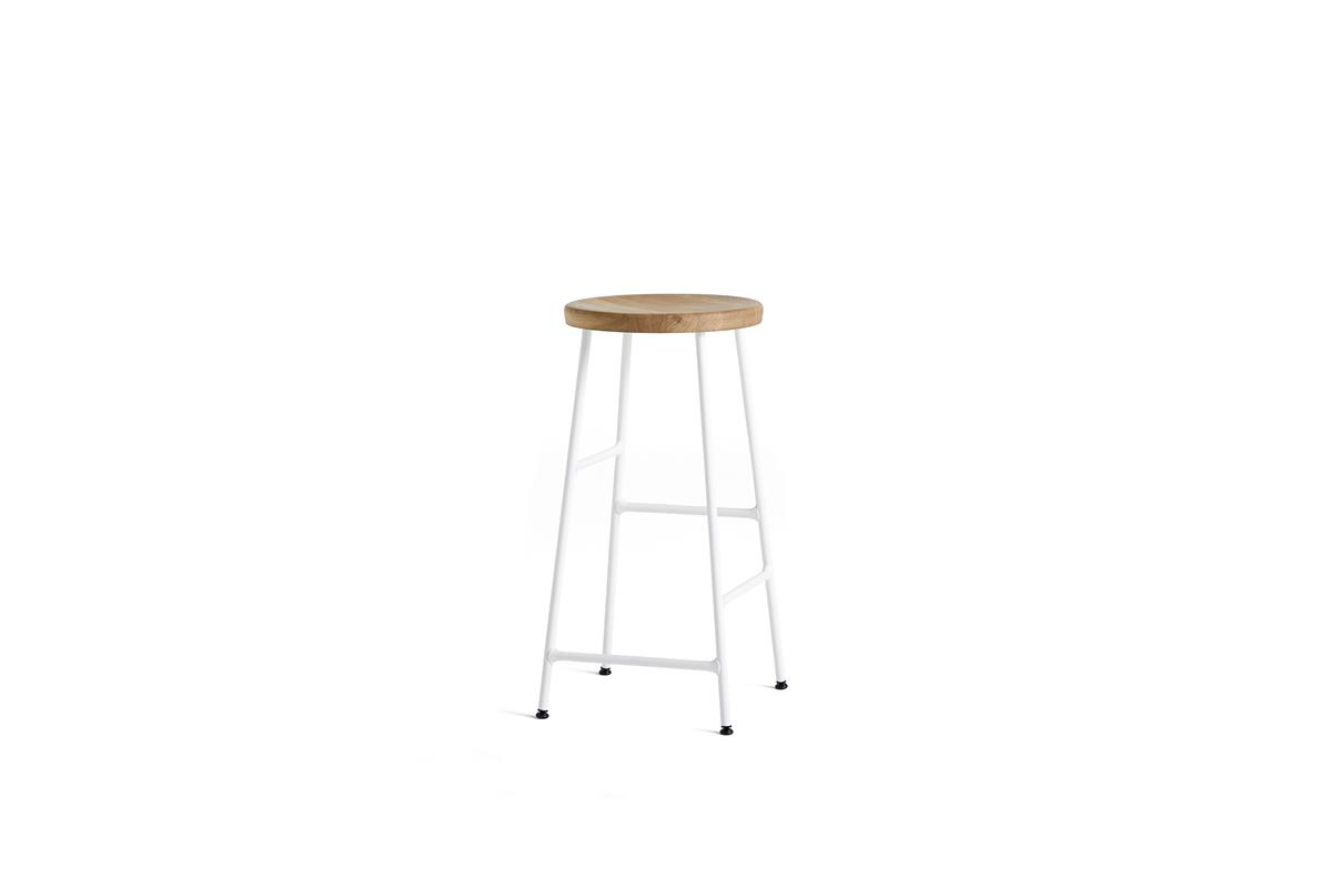 Cornet Bar Stool H65 - Oiled Oak & Cream White