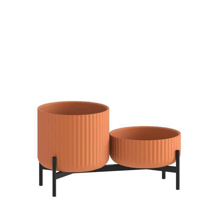 Klorofyll Double Low Base & Low + Medium Concrete Terracotta Planters