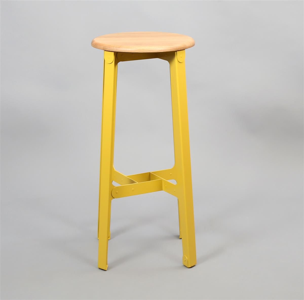 Construct Bar Stool - Oak & Sulphur Yellow