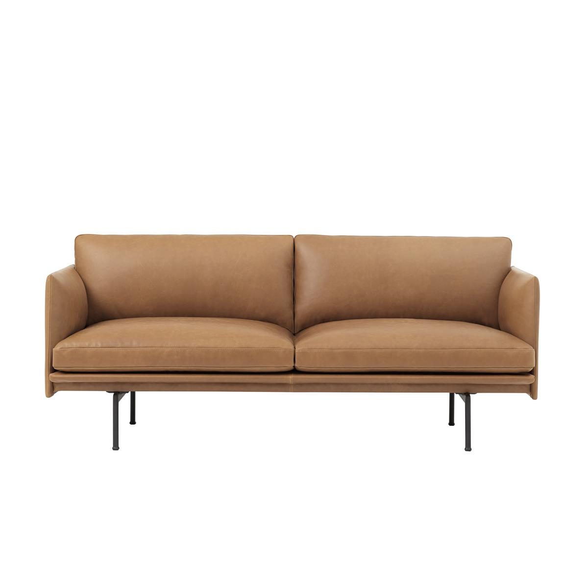 Outline Sofa 2 Seater - Cognac Silk Leather & Black