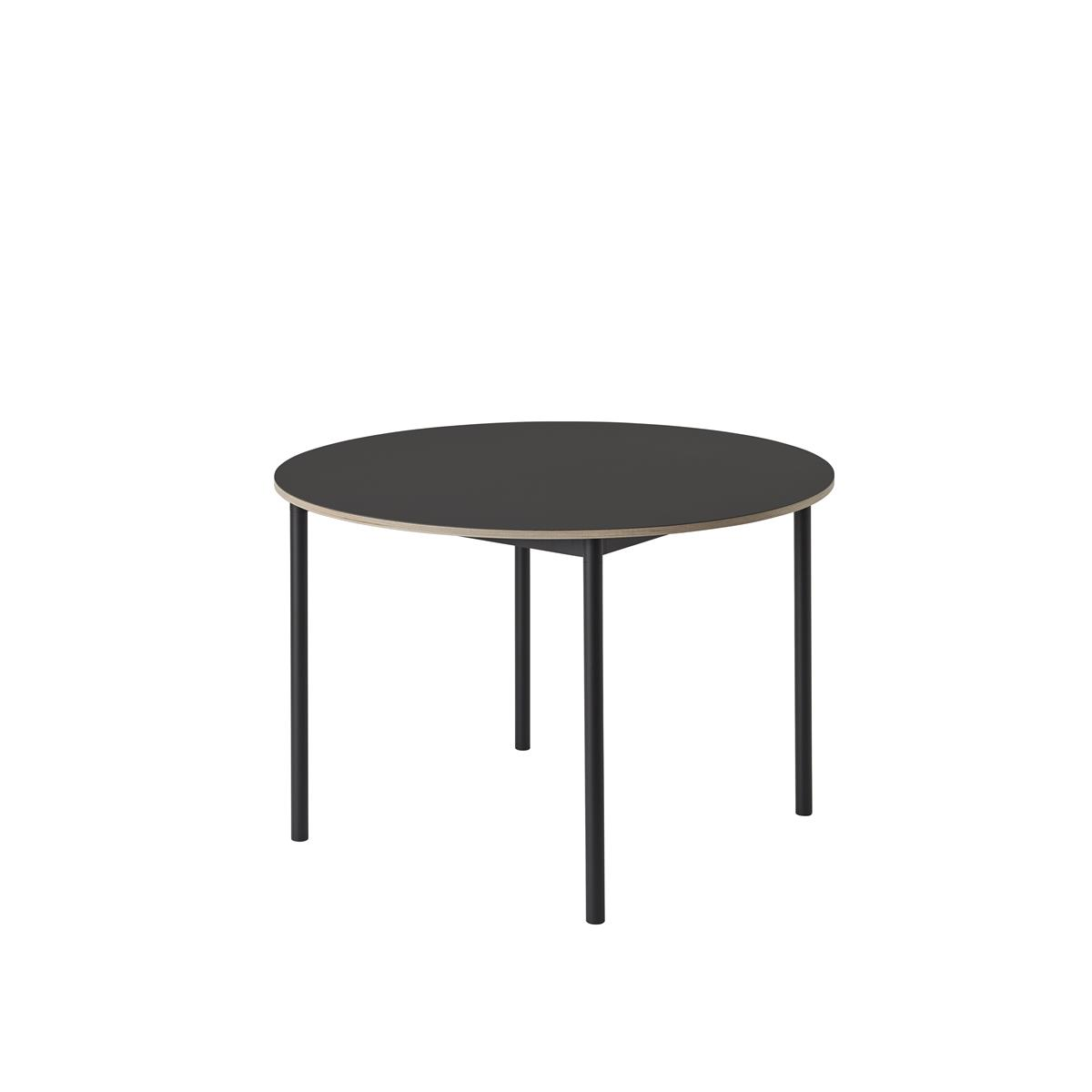 Base Table / Ø 110 Black/Black Linoleum/Plywood