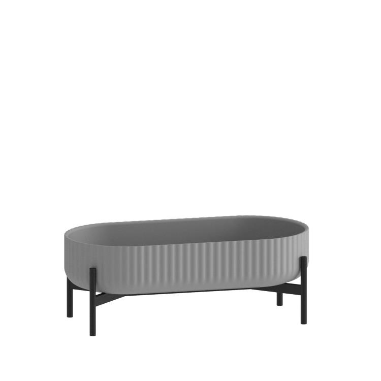 Klorofyll Double Low Base & Oval Concrete Grey Planter