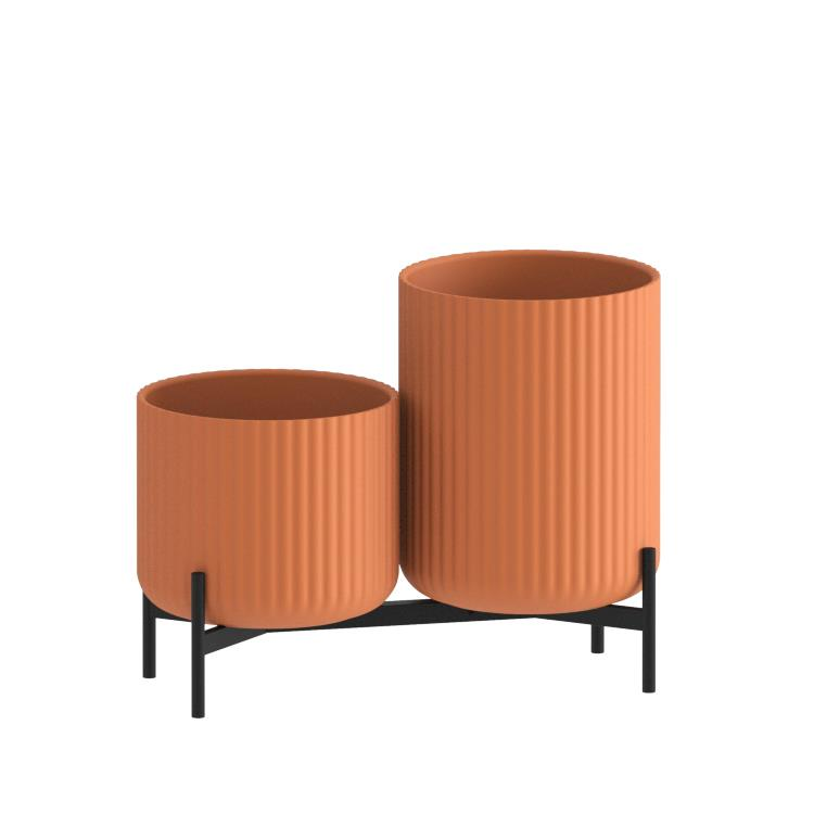 Klorofyll Double Low Base & Medium + High Concrete Terracotta Planters