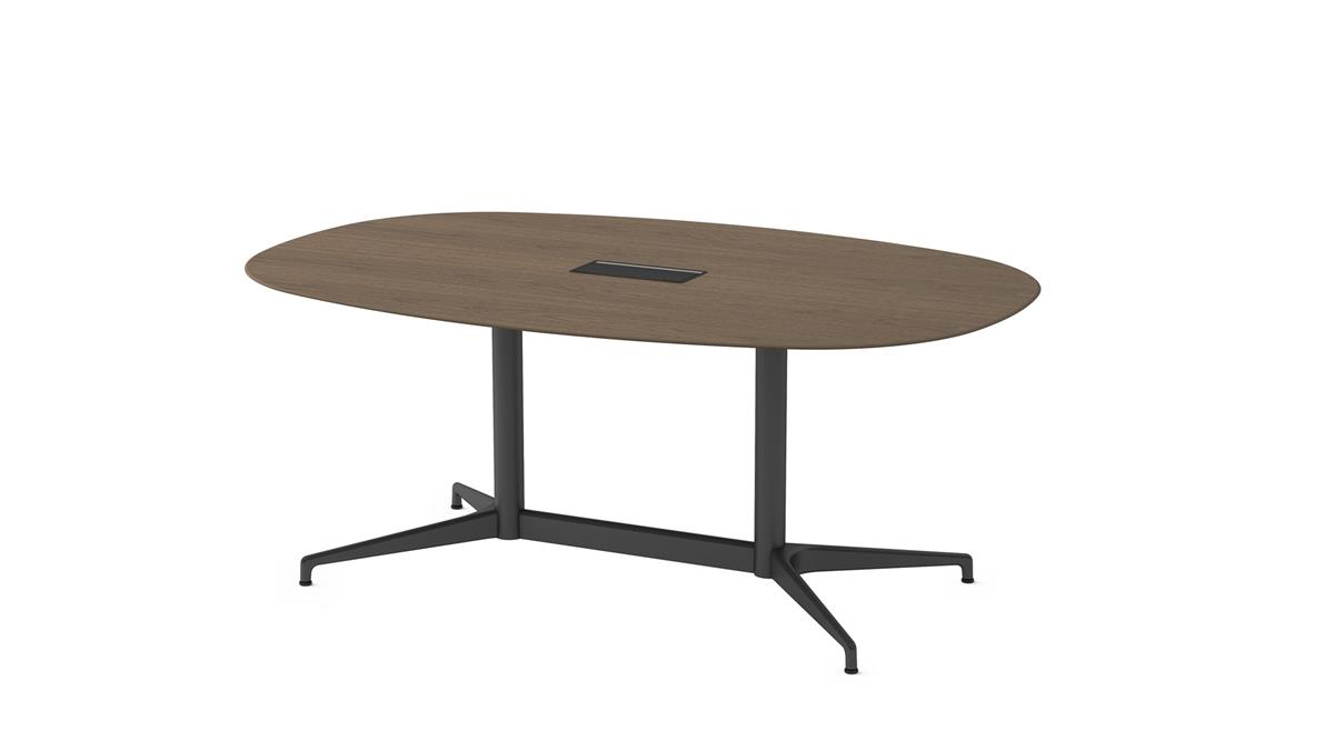 Civic Table Oval 200 x 120 - Walnut veneer & Black with Access flap
