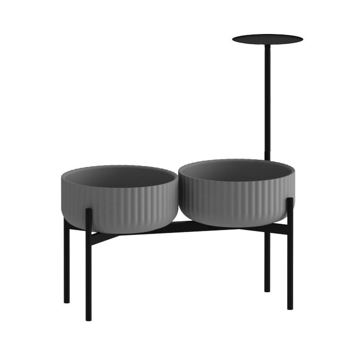 Klorofyll Double Medium Base & Low Concrete Planters with Round Table