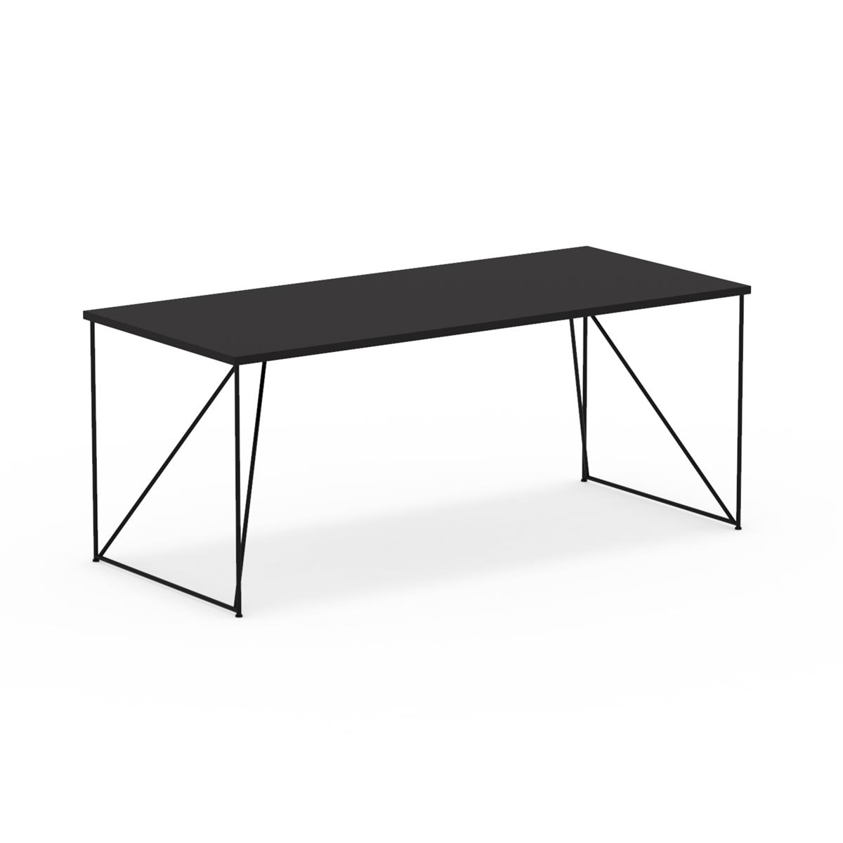 W1 Wired Table 180 x 80 cm med sort linoleum