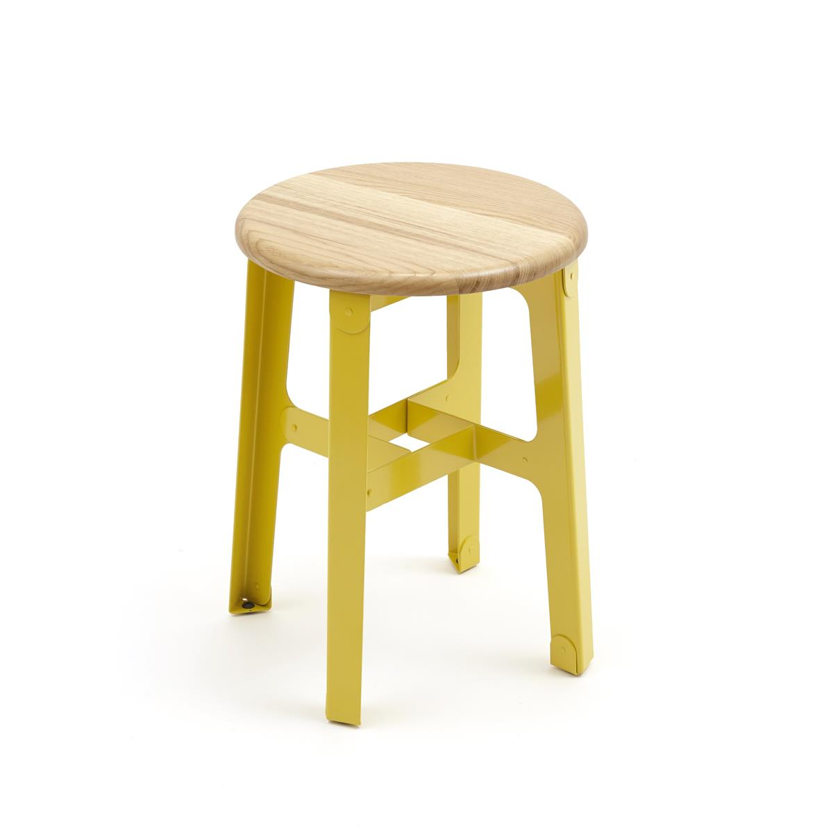 Construct stool H45 - Oak & Lemon Yellow