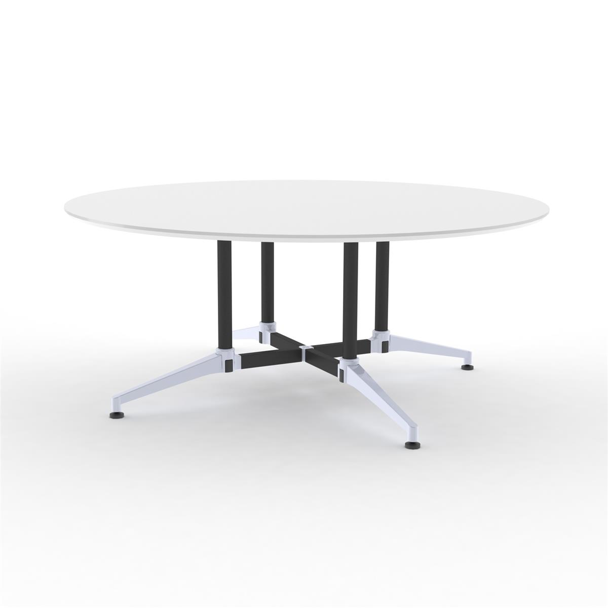 X1 Seamless Table Ø175 cm  - hvit melamin & sort / alu understell
