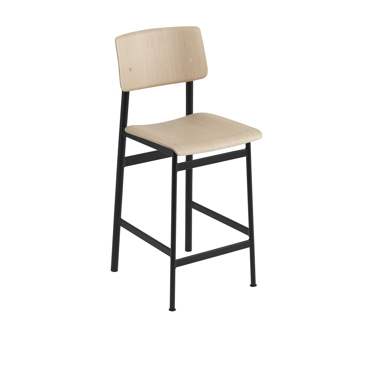 Loft Bar Stool H65 - Black & Oak