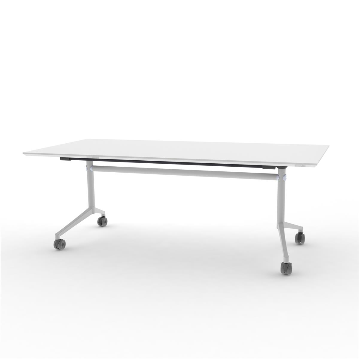 X1 Seamless Folding Table 200x90 cm med hvit bordplate og hvitlakkert understell