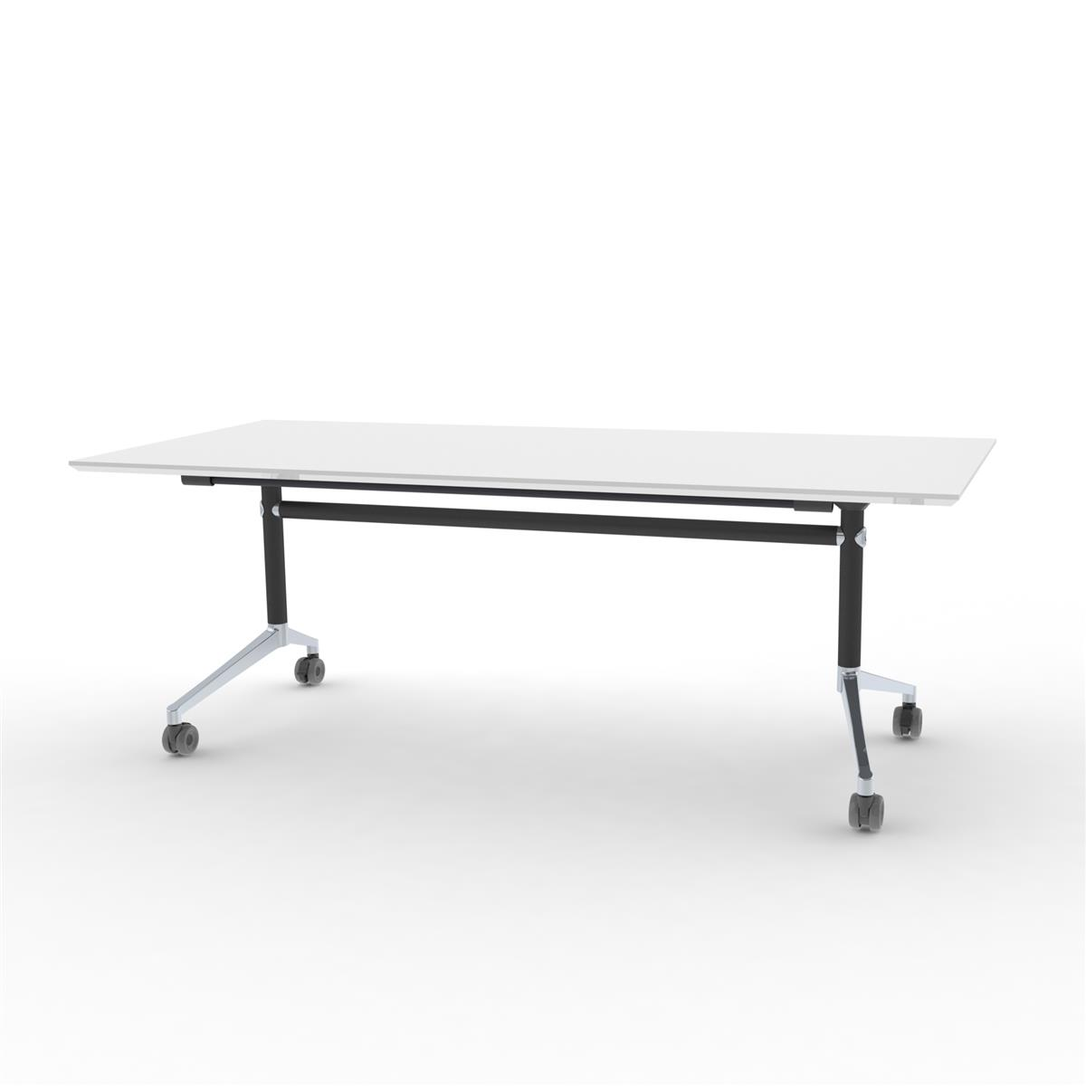 X1 Seamless Folding Table 200x90 cm med hvit bordplate, sort og aluminium ramme