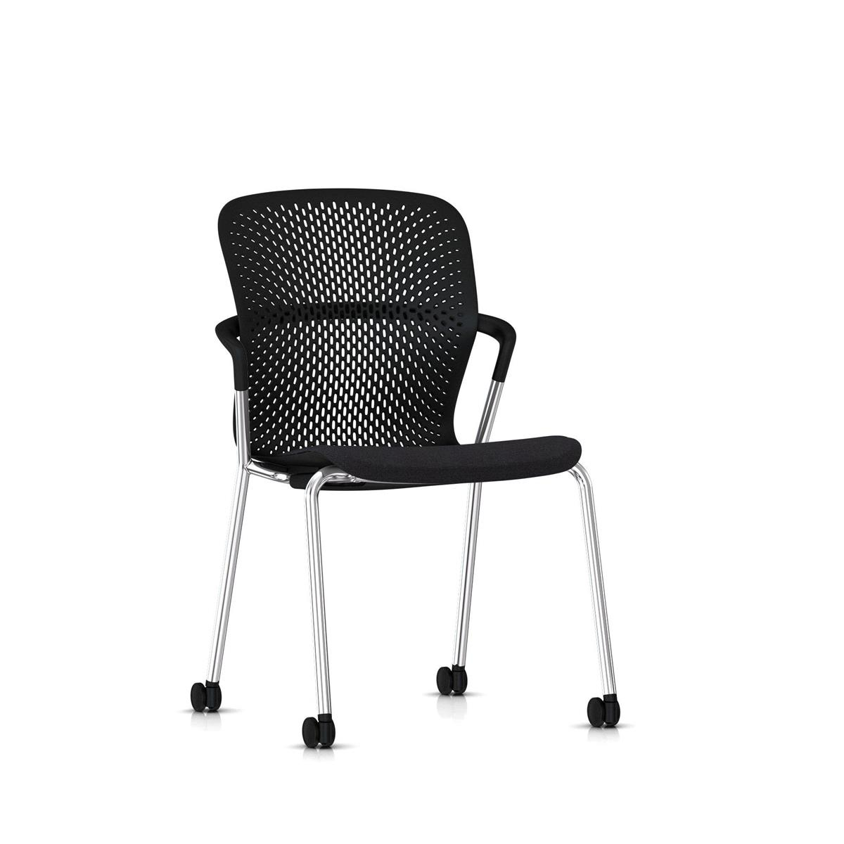 Keyn 4 Leg Chair Chrome & Black - Camira Sprint tekstil og trinser