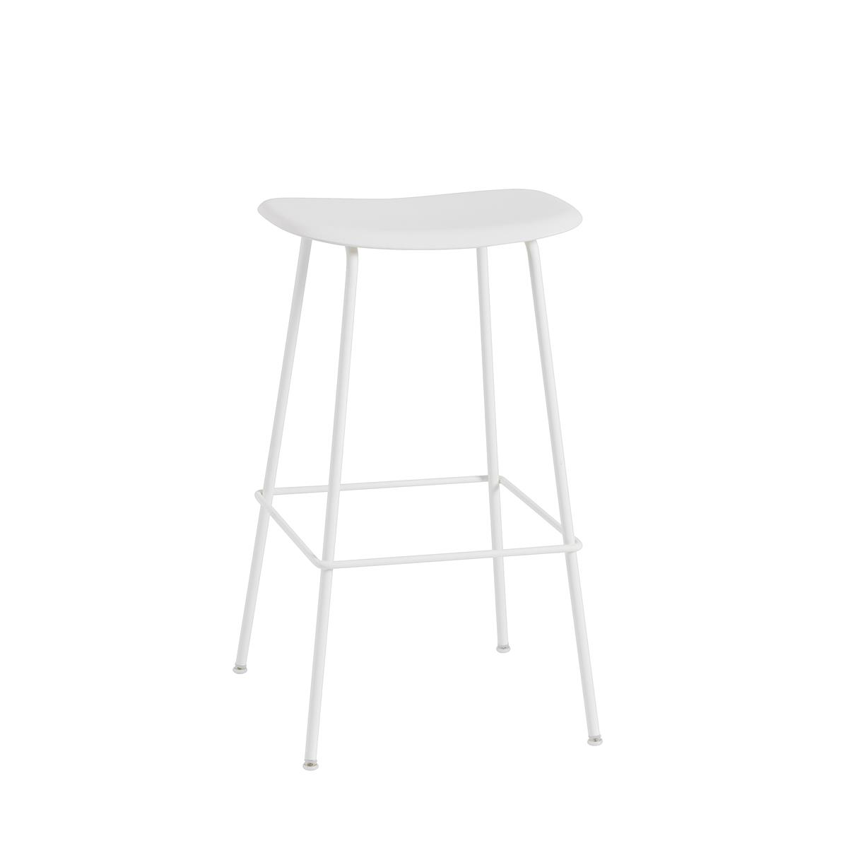Fiber Bar Stool / Tube Base H75 - Natural White