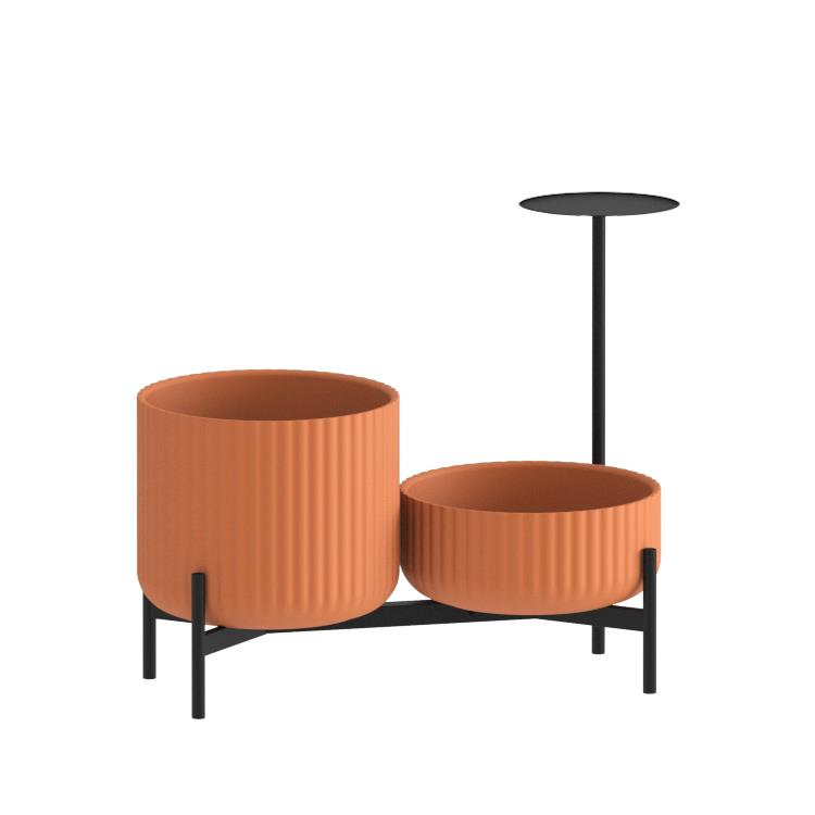 Klorofyll Double Low Base &  Low + Medium Concrete Terracotta Planters with Round Table
