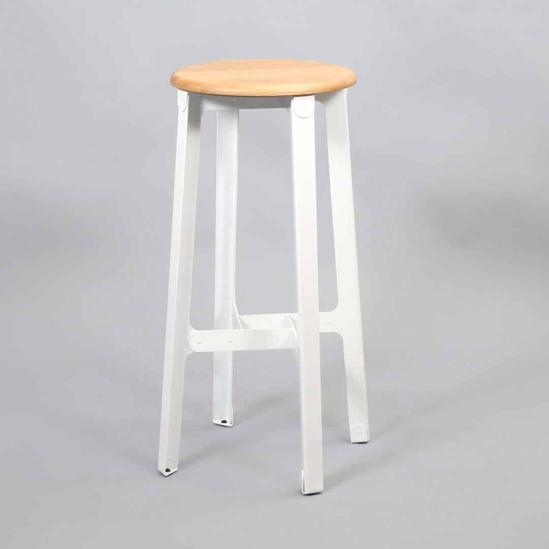 Construct Bar Stool - Oak & Signal White